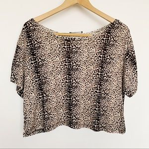 Ambiance Tops - Ambiance Animal Print Crop Top Loose Fit Shirt